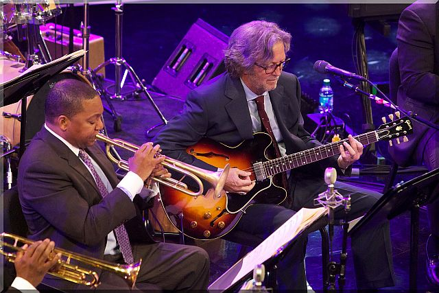 02 Wynton Marsalis and Eric Clapton Play the Blues Photo by Julie Skarratt for Jazz at Lincoln Center